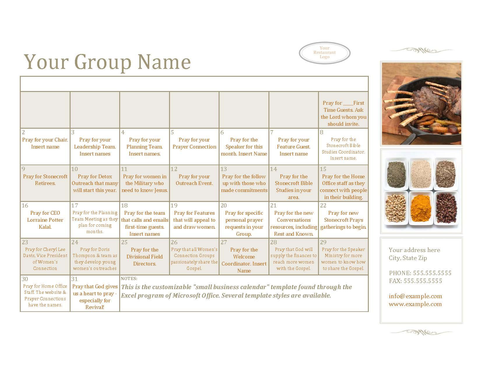 prayer calendar template